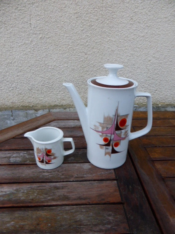 COFFEE POT and milk pot, china, winterling bavaria marktleuthen, design and vintage 1970