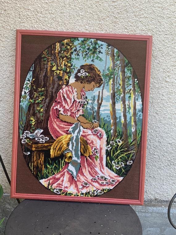 Large canvas woman embroidered and framed vintage 1970