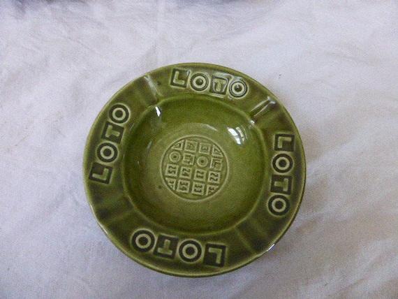 LOTO advertising ashtray in vintage enamelled ceramic GIEN FRANCE ceramic workshops, green in color