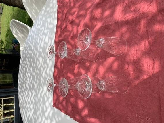 Lot of 6 transparent glass flutes vintage foliage pattern 1960