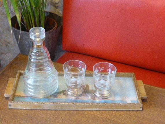 Liqueur set consisting of a carafe gray poupon, two glasses flowers and a tray wood and glass photos of mont st michel vintage 1950