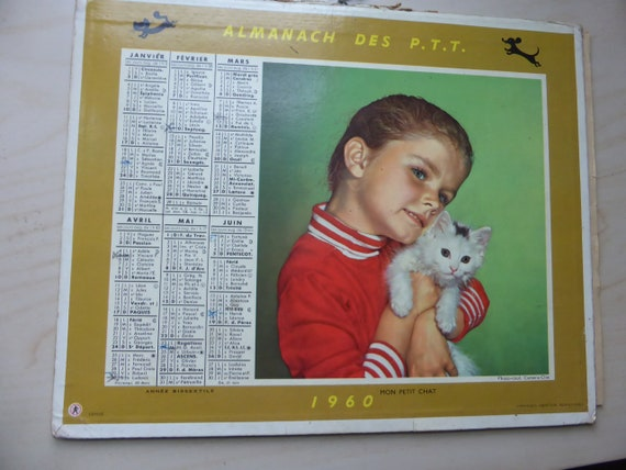 Lot of 5 PTT Almanacs, made in France vintage 1950/60, collector calendars