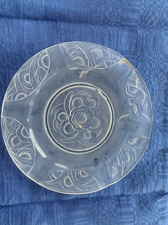 Small plate, SABINO FRANCE ashtray in frosted glass, art deco floral pattern