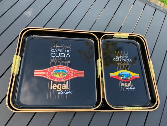 Nesting trays, set of 3 plastic advertising trays for the vintage cafe legal 1960/70