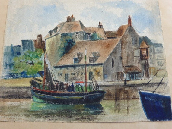 Charming unframed painting, signed GABORIAU, HONFLEUR, pastel and gouache on vintage paper