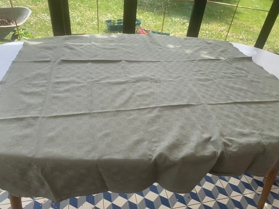 Beautiful old tablecloth monogrammed AH, tinted Khaki, damask and embroidered