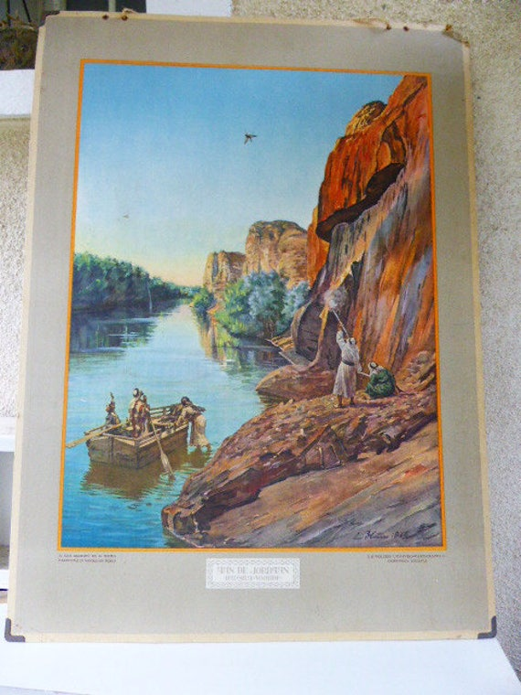 School and educational poster, circa 1930, landscape of Jordan, after a painting by L. Blum from 1926