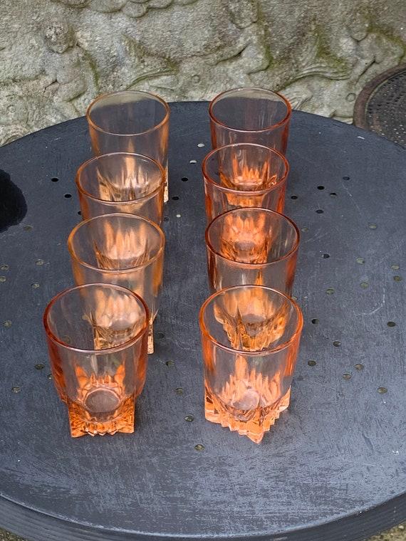 Lot of 8 pink water glasses, rosaline, stamped BVB France vintage 1960/70