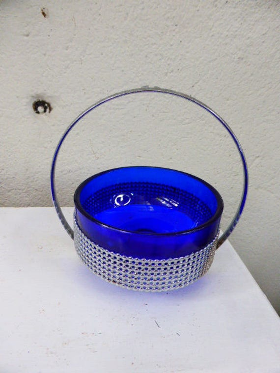 Jam Pot Blue glass and metal intox silver silversmith 1970