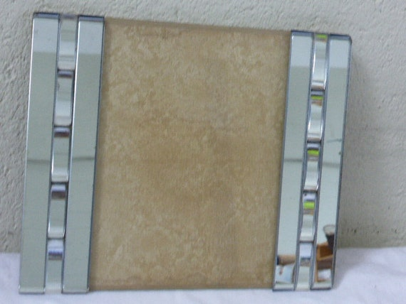 Mirror frame with mosaic and geometric motifs, glass, vintage 1940/50