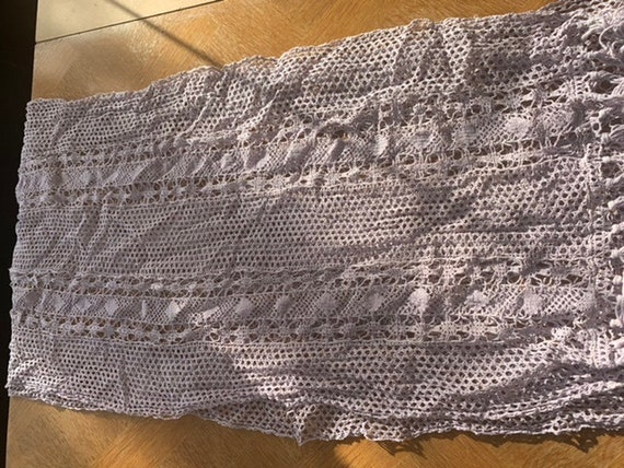Crochet straight curtain, vintage lilac
