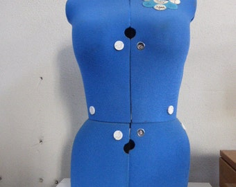 Adjustable seamstress in vintage blue fabric. 2 sizes, size A bust 84/100 or B 99/115