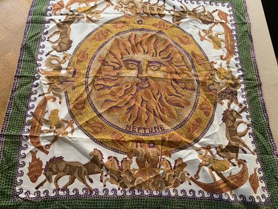 Sublime scarf by André Claude CANOVA Limited edition Neptune theme, in Pompeian mosaic style