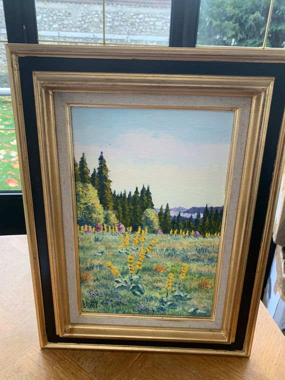 Framed painting mountain landscape, gentians of the Haut Jura in the sambine valley, signed Raymonde Aubry, painted in 1999