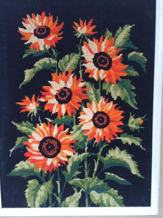 beautiful Canvas vintage orange framed sunflowers 1970