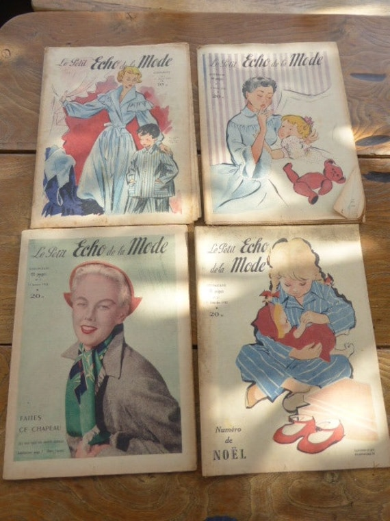Lot of 4 reviews the little echo of 40 pages weekly fashion, vintage 1950, 1952 and 1953