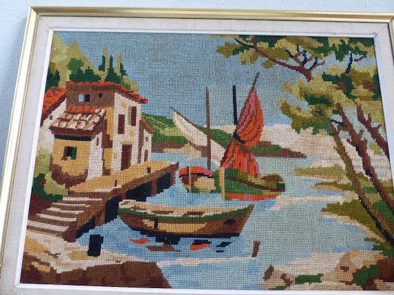 canvas tapestry boat vintage 1970