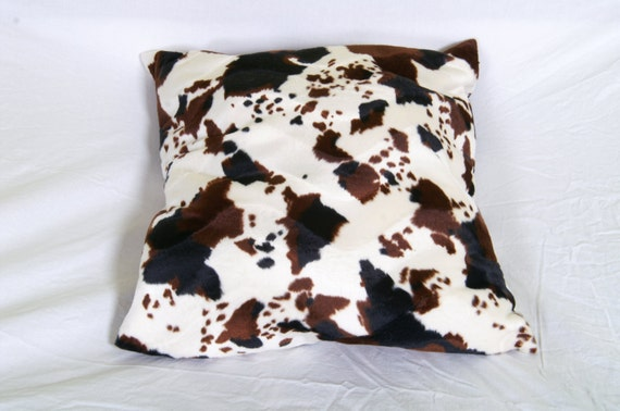 original pillow for your decoration and arrangement, square shape, brown and white, cow skin synthetics, original creation