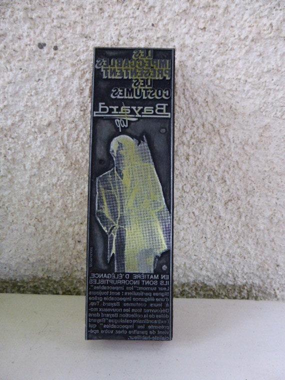Buffer d advertising printer for costumes Bayard fashion man vintage 1960,