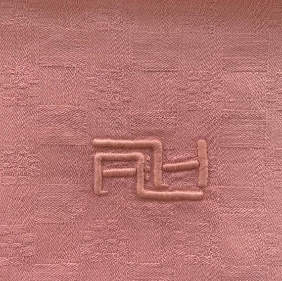 4 large AG monogrammed napkins, tinted pink vintage old art deco