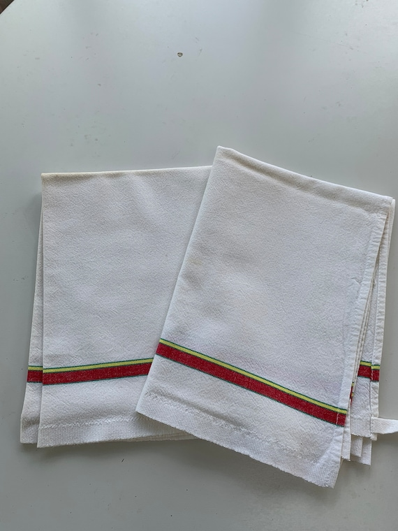 Two old tea towels yellow and red stripes