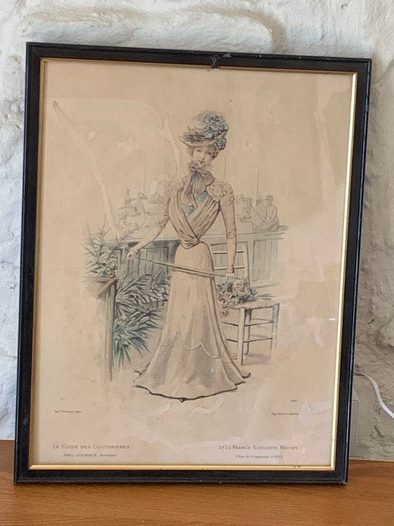Fashion engraving, Impression V. COURMONT Paris, The guide of couturieres and elegant France reunited art deco