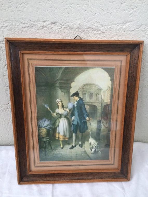 Old framed engraving signed V De Beauvoir Wercd