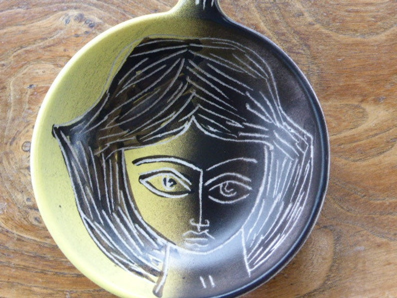 H\u00e9l\u00e8ne UGO Vallauris Cup and stamp engraved in ceramics collection glazed ceramic poelon signed M Barbier Vallauris Vintage 1950