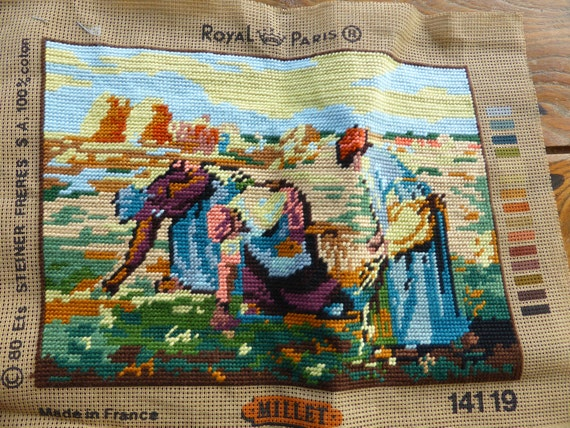 """CANVAS """"les Glaneuses3 according MILLET embroidered finished tapestry, 1980 vintage, handmade, made in France, creating steiner freres"""
