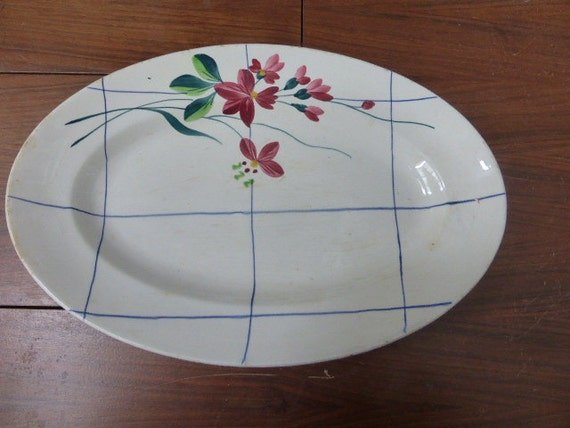 "oval dish, platter, art deco, fabrics ""creil et montereau"" flower design, carnation flower"
