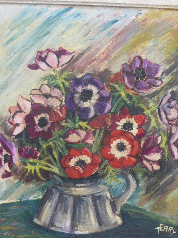 Superb painting, painting on wood; the bouquet of anemones signed TERRY Gen framed in an old wooden frame