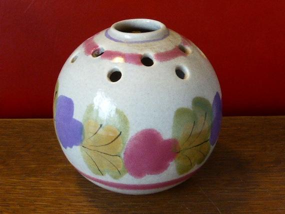 Flower vase, enamelled ceramic, floral pattern Ninon Mbfa Pornic France vintage 1970
