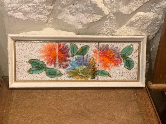 Table Frame vintage tiles 1970 floral tiling and old enamelled