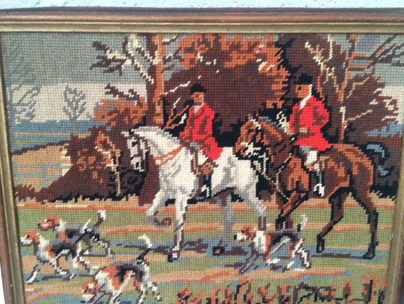 Canvas hunting scene with course, horses and riders vintage 1970, framed in a beautiful wooden frame
