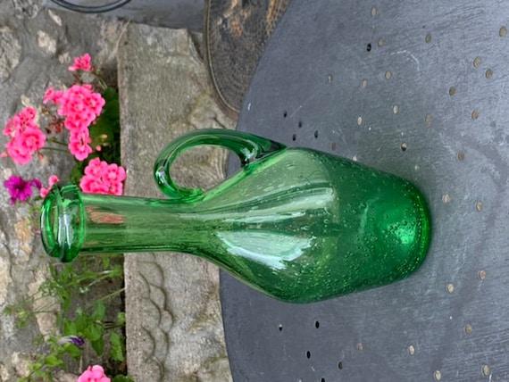 Carafe bottle of biot glassware hand blown in vintage green color, biot stamped engraved under the base