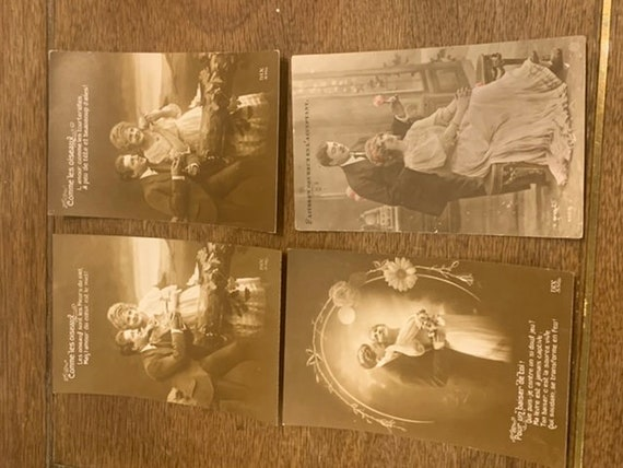 Lot of 4 old postcards with messages for Valentine's Day, couple and love, one written