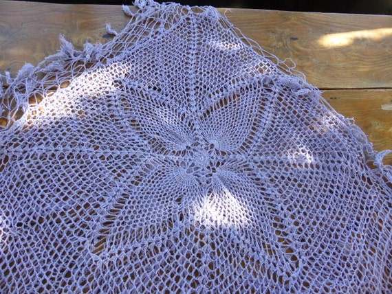 SHAWL or TABLECLOTH, hand made, cotton, colors french lavender, vintage 1970, so beautiful