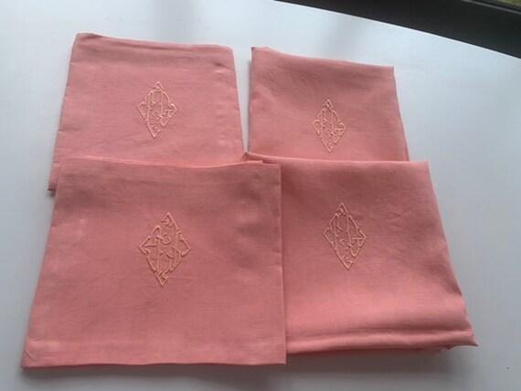 4 large CG monogrammed napkins, tinted pink vintage old art deco
