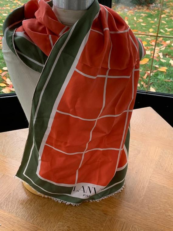 LANVIN silk scarf, vintage orange and green with vintage geometric patterns 1970