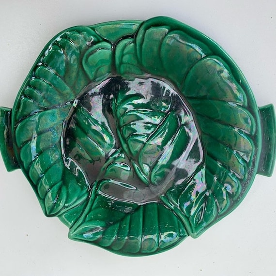 Cup for fruits or plates barbotine céramique enamelled Green foliern pattern
