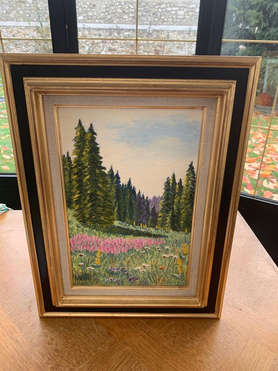 Framed canvas mountain landscape, epilobes in the jura, number 33 signed Raymonde Aubry, painted in 1999