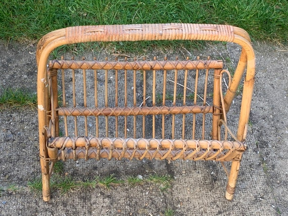 MAGAZINE HOLDER in bamboo, wicker and rattan, vintage 1960/70