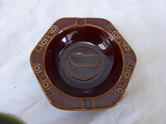 LOTO advertising ashtray in vintage enamelled ceramic GIEN FRANCE ceramic workshops, brown in color
