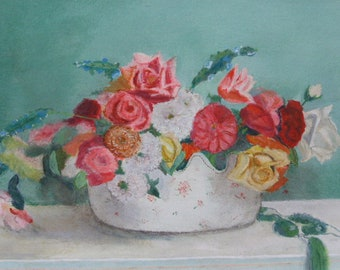 Beautiful painting, painting floral composition in a pot, vintage