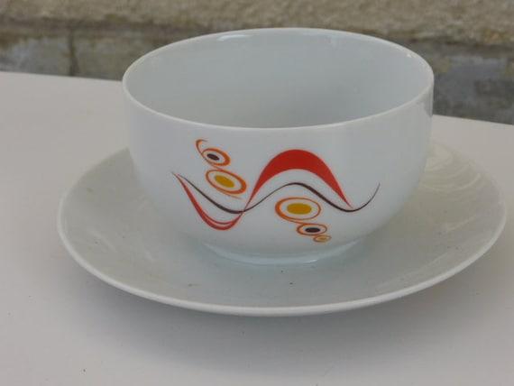 Porcelain sauciere white, design pattern, Winterling Schwerzehbech Bavaria, vintage 1970