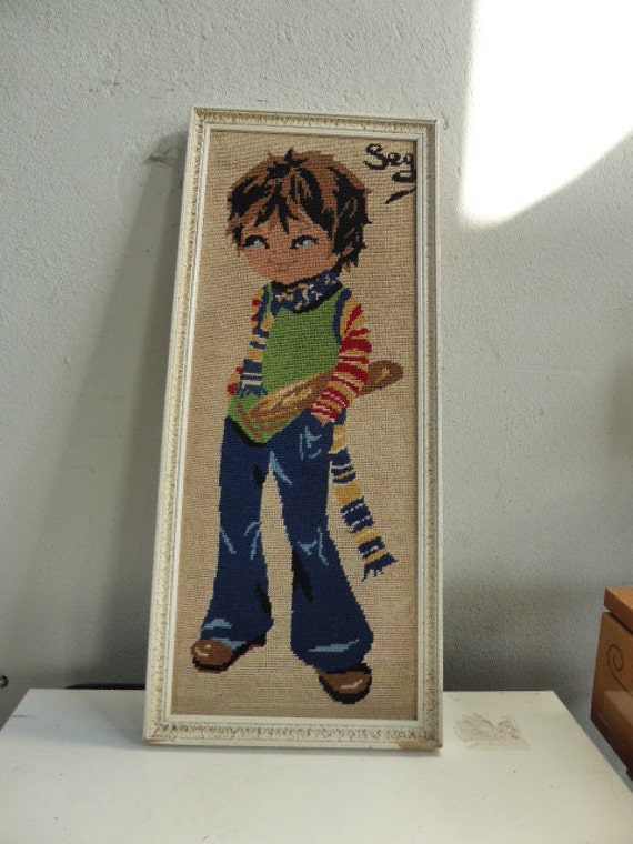 THE POULBOT canvas and his bread, vintage 1970 made hand finished and framed.
