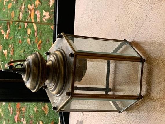 Chandelier, suspension, lamp, faceted light fixture, brass and vintage beveled gla