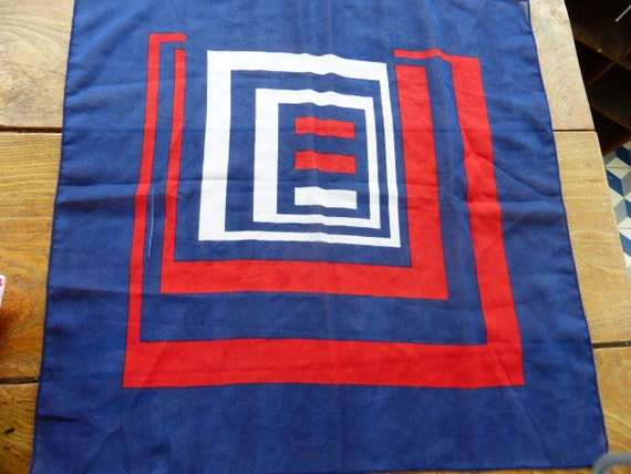 Scarf geometric patterns , blue, red white, Neuville , Movitex 100% polyester vintage 1970