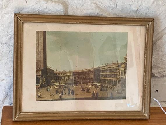 VENICE, Saint Mark's Square framed by Fototipia Zeno Zachetti in Milan, vintage engraving