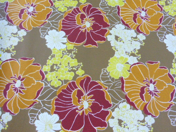Original wallpaper, vintage 1970, psychedelics flowers, trend and fashion, about 7 meters